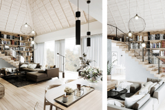 1_-jasne-wnętrze-skandynawskie-_-biblioteka-na-antersoli-_-otwarta-więźba-dachowa-_-nieruchomosć-w-Łodzi-_-dom-w-lesie