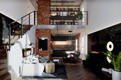 apartament-w-warszawie-styl-loftowy-i-art-deco-cegła-w-salonie-Artystyczny-Żoliborz