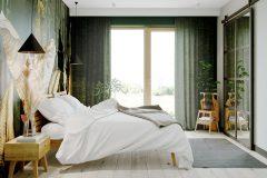 2-sypialnia-z-tapetą-dżungla-wnętrza-skadynawskie-z-wykorzystaniem-zieleni-tapeta-dżungla-otwarte-przestrzenie-Jedlicze-B