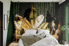 sypialnia-z-tapetą-dżungla-wnętrza-skadynawskie-z-wykorzystaniem-zieleni-tapeta-dżungla-otwarte-przestrzenie-Jedlicze-B