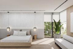 22-minimalistycz-sypialnia-gościnna-w-stylu-japandi-wnętrze-w-duchu-Vastu-shastra-styl-japandi-proejkt-OSOM-group-Warszawa-Hamptons-ściana-solna-ogród-wertyklany-interior-design