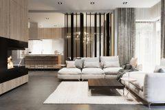 1_-wnętrze-z-dużym-salonem-skandynawski-styl-jasne-drewno-z-czarnymi-dodatkami-mieszkanie-Grodzisk-Mazowiecki