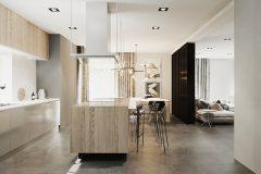 2_-wnętrze-z-dużym-salonem-skandynawski-styl-jasne-drewno-z-czarnymi-dodatkami-mieszkanie-Grodzisk-Mazowiecki