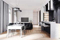 1-minimalistyczny-styl-wnetrza-z-duża-część-dzienną-_-dominuje-czarny-i-grafitowy-oraz-jasne-drewno-mieszkanie-w-Warszawie
