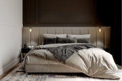 6-sypialnia-miminalistyczne-wnętrze-w-stylu-japandi-wykorzystanie-naturalnych-materiałów-w-kolorze-ziemi-orginalny-luksusowy-design-Łódź