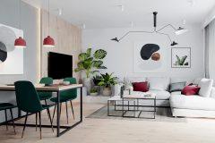 1-nowowczesne-nawiazanie-do-stylu-vintage-_-apartamentowiec-w-Warszawie-jasne-wnętrze-z-mocnymi-dodatkami-czerni-i-bordo