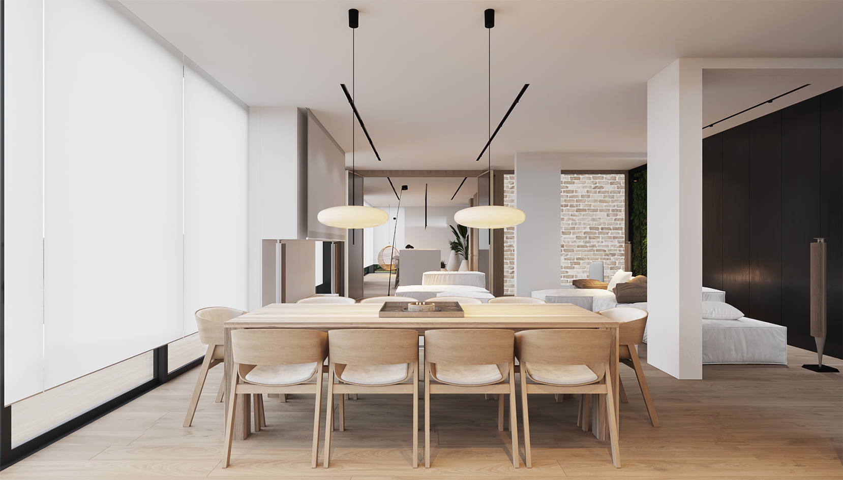 wnętrze jadalni minimalistyczne japandi Vastu shastra projektowanie wnętrz